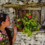 girl, wall, flower pot