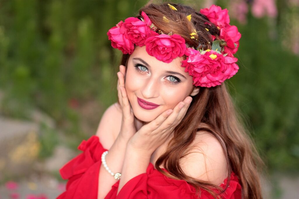 woman, beauty, wreath